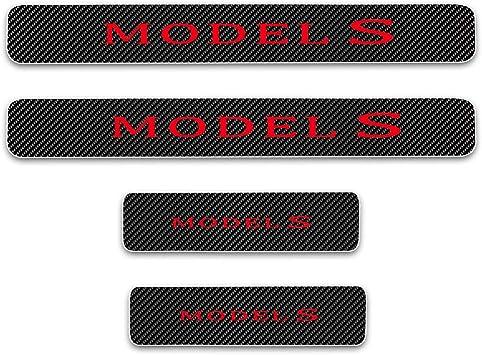 For TESLA Model-S Model-X Door Sill Protector Reflective 4D Carbon Fiber Sticker Door Entry Guard Door Sill Scuff Plate Stickers Auto Accessories 4Pcs Blue
