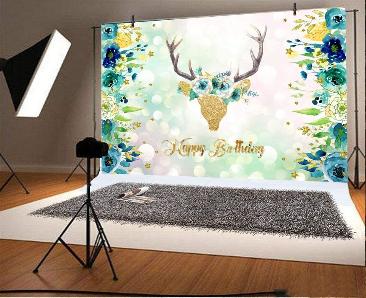 Happy Birthday Backdrop 10x6.5ft Polyester Golden Glitter Floral Deer Head Dreamlike Bokeh Haloes Photography Background Blue Flower Edges Kids Child Baby Shoot Birthday Party Banner Cake Smash