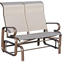 Outsunny Double Seat Glider Garden Bench Rocking Chair Porch Furniture Patio Swing Lounger