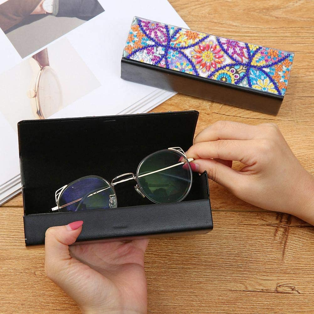 DIY Diamond Painting Kits Eyeglasses Box Sunglasses Organizer Holder Leather Glasses Case Eye Glasses Storage Box
