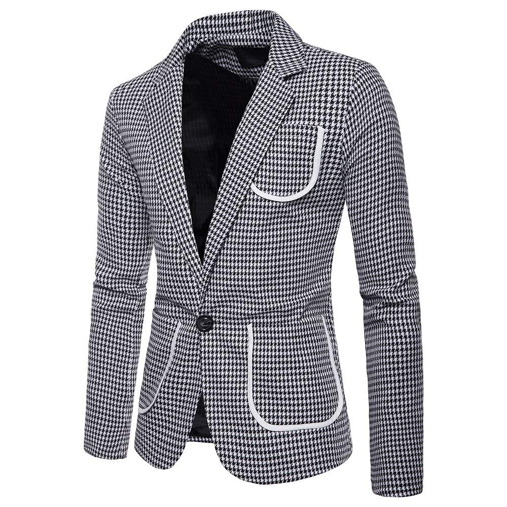 Sunhusing Mens Houndstooth Print One Button Blazer Suit Casual Multi-Pockets Short Jacket at Amazon Mens Clothing store: