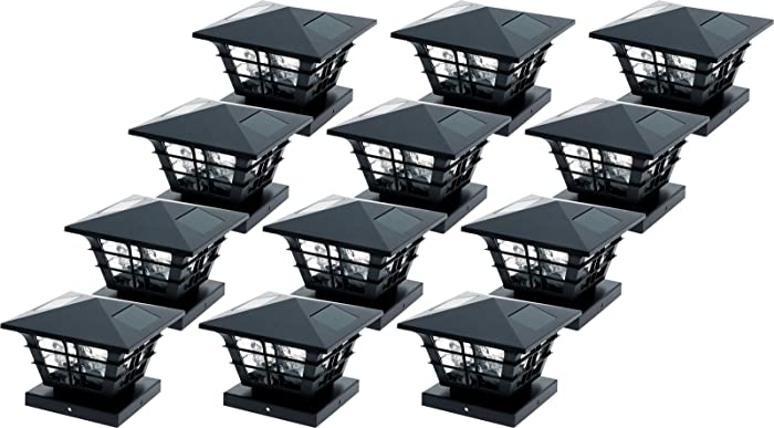 GreenLighting 5x5 Solar Post Cap Light with 4x4 Base Adapter (Black, 12 Pack)