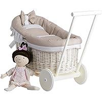 e-wicker24 Landau-Poussette pour poupée en Osier Blanc,poignée et Roues en Bois avec Tissu Beige et Blanc