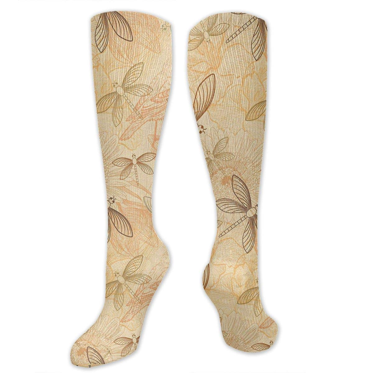 Chanwazibibiliu Vintage Birds and Dragonflies Mens Colorful Dress Socks Funky Men Multicolored Pattern Fashionable Fun Crew Cotton Socks