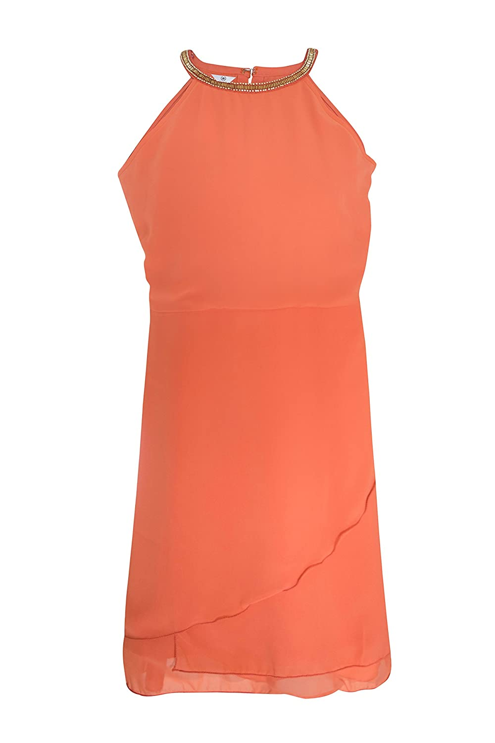 Bayside Woman's Peach Color Halter Neck And Overlapping Flared Short Dress