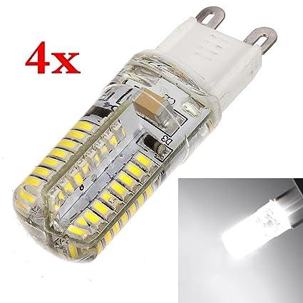4 Bombillas LED de luz blanca - 3W de potencia - Base G9 - Luz 3014