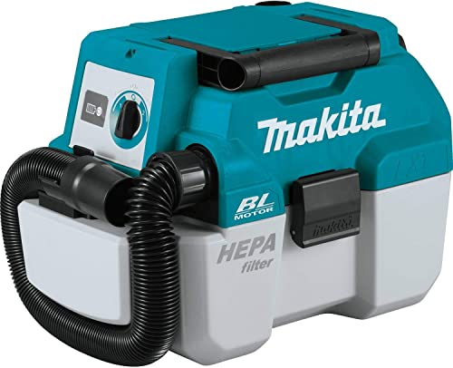 Makita XCV11Z 18V LXT Lithium-Ion Brushless Cordless 2 Gallon HEPA Filter Portable Wet Dry Dust Extractor Vacuum, Tool Only