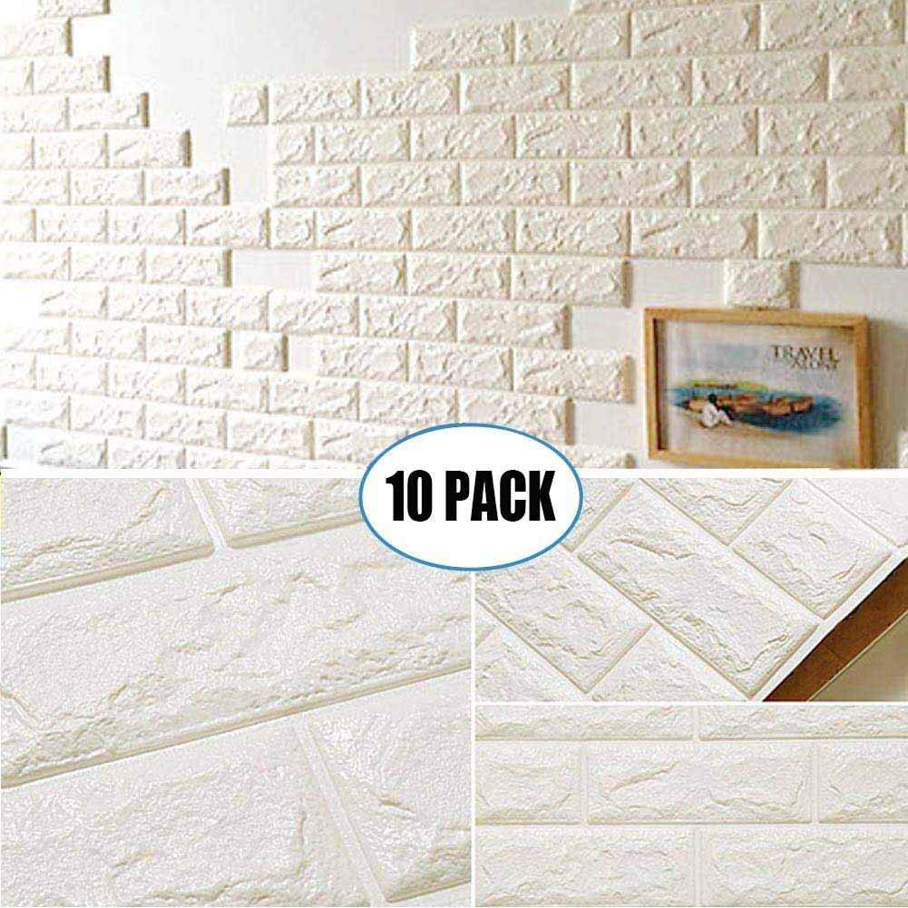 10 Pack White Brick Wallpaper Tiles, POPPAP Self-Adhesive 3D Foam Wall Panels for Home Decor TV Walls Kitchen Bedroom Living Room Background Wall Decor (23.62X 23.62 inch)