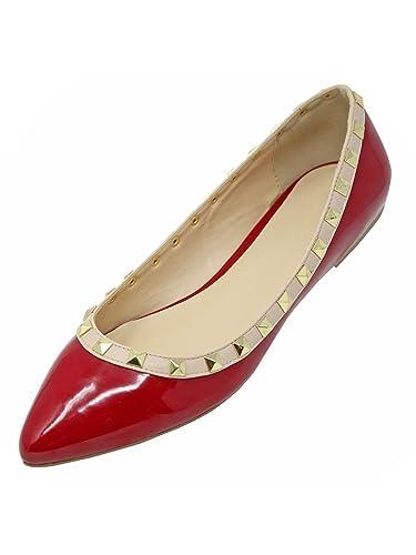 c44190207 Amazon.com | Luxury Divas Patent Leather Flats with Nude Trim & Gold Studs  | Flats