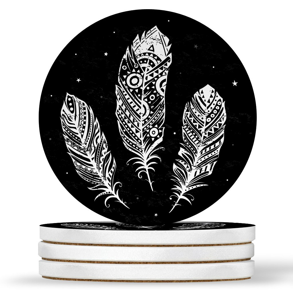 AK Wall Art Tribal Cute Feathers Design - Round Coasters, Natural Sandstone - Set of 4