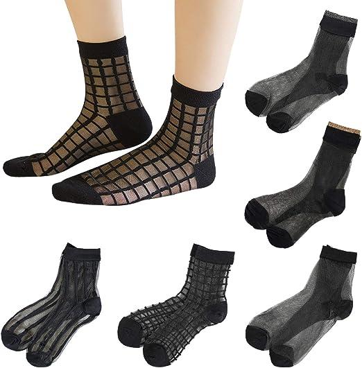 Sheer Mesh Transparent Socks Women Lace Ultrathin Fishnet See Through Ankle Sock