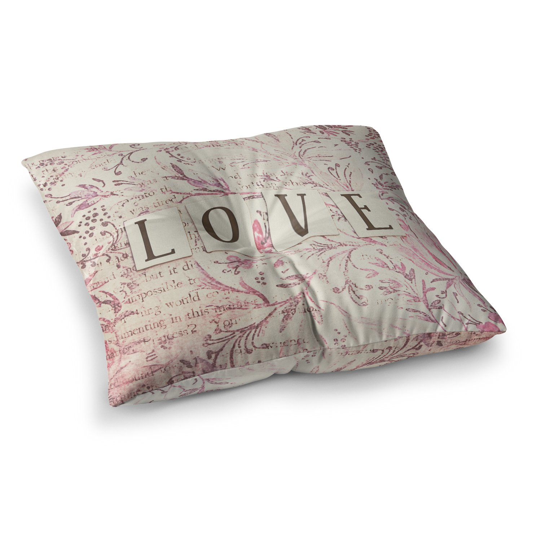 23 x 23 Square Floor Pillow Kess InHouse Debbra Obertanec Simply Love Pink Typography