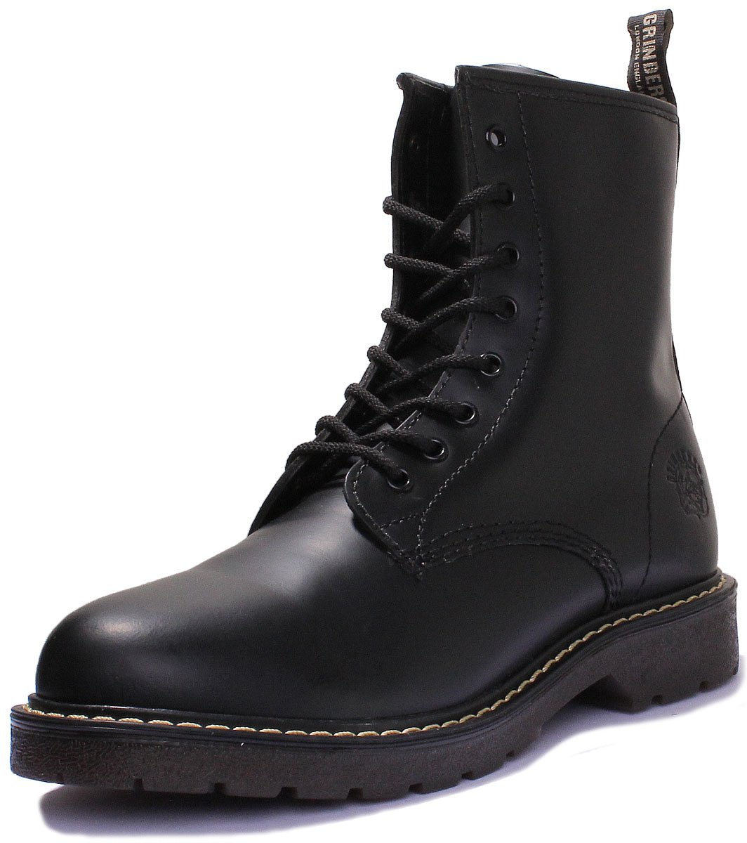 Grinders Cedric 8 Eyelet Lace Up Boot (5 US, Black)