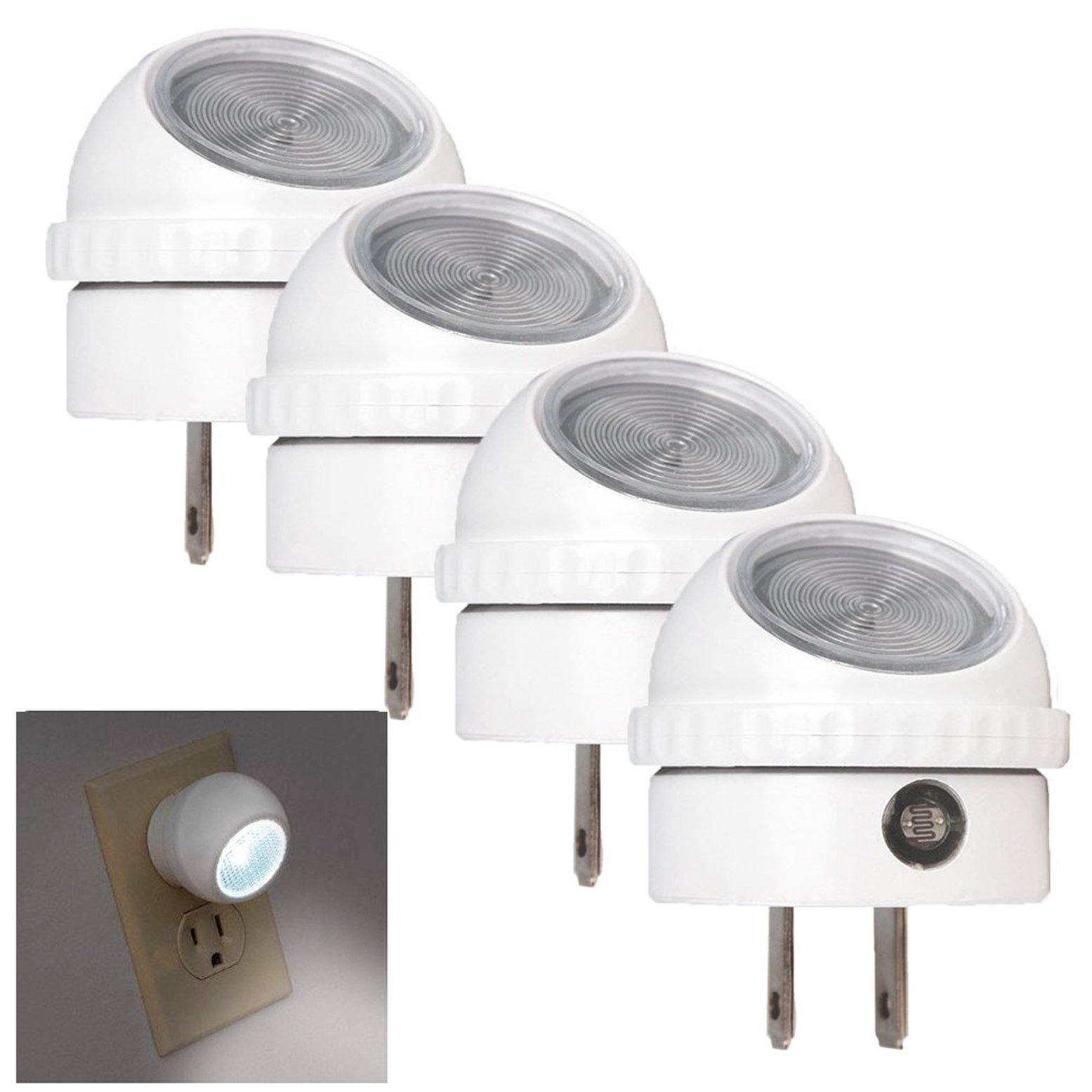 4 Set Auto Sensor LED Night Light Hallway Energy Saving Photocell Plug-In Bright Awe-inspiring Fashionable Color White