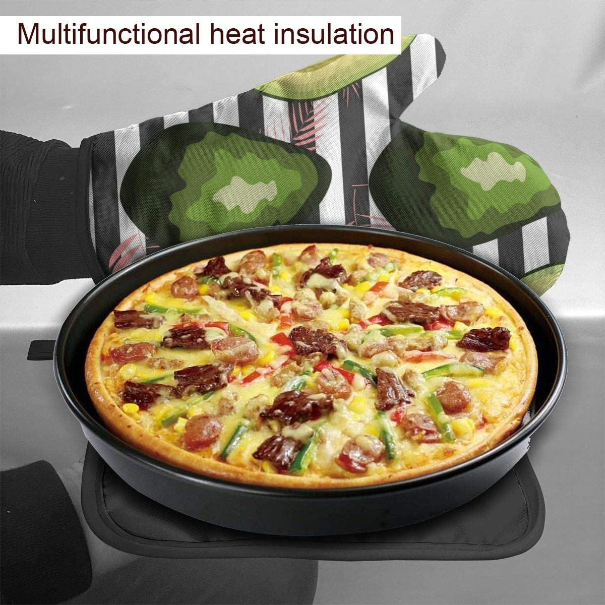 REONI Striped Avocado Fruit Cute Microwave Oven Mitts and Pot Holders Cover Set Heat Insulation Blanket Mat Pad Mittens Glove Baking Pizza Barbecue BBQ Accessories Home Kitchen Decor