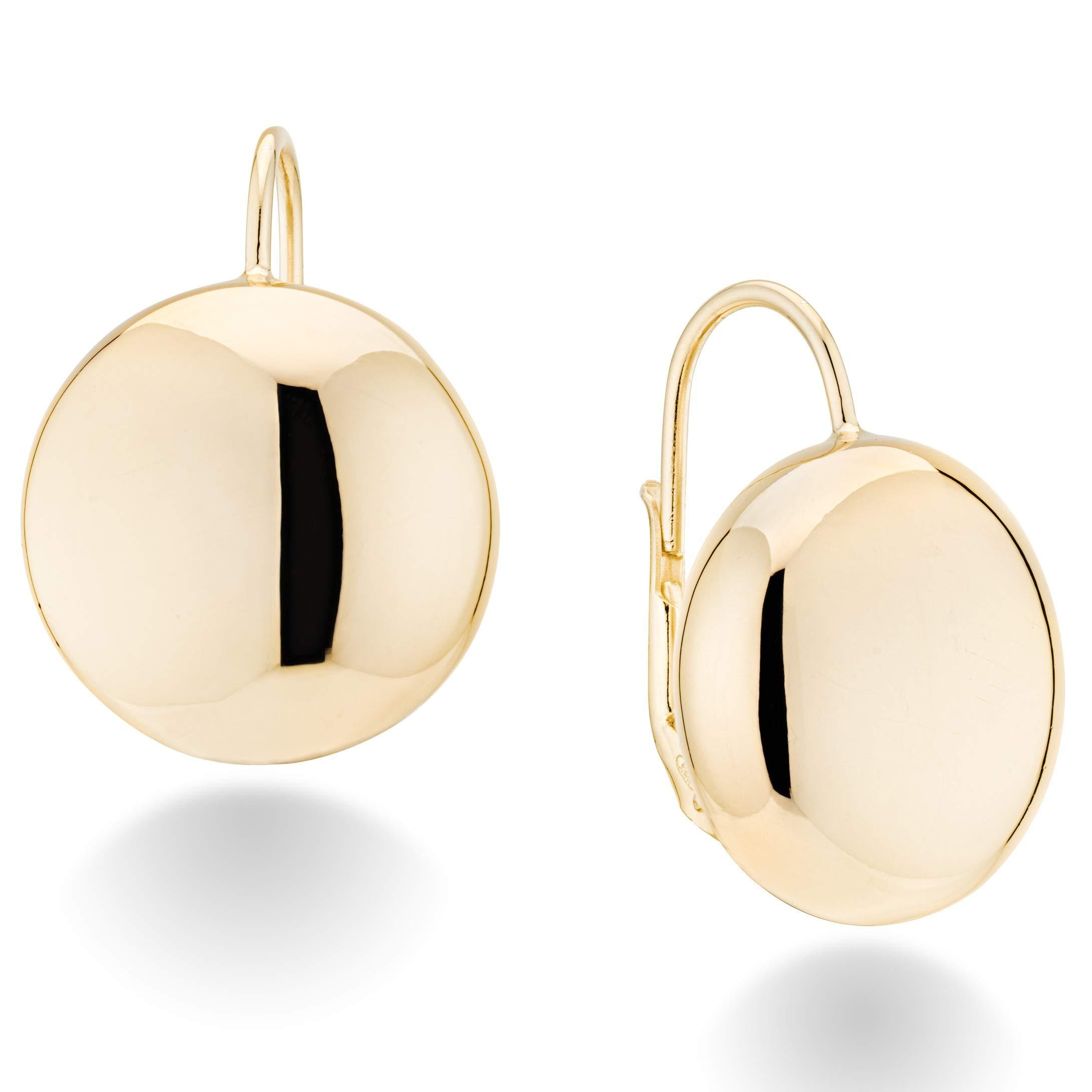 MiaBella 18K Gold Over Sterling Silver Italian Flattened Bead Ball Statement Leverback Earrings, 12mm, 18mm (18)