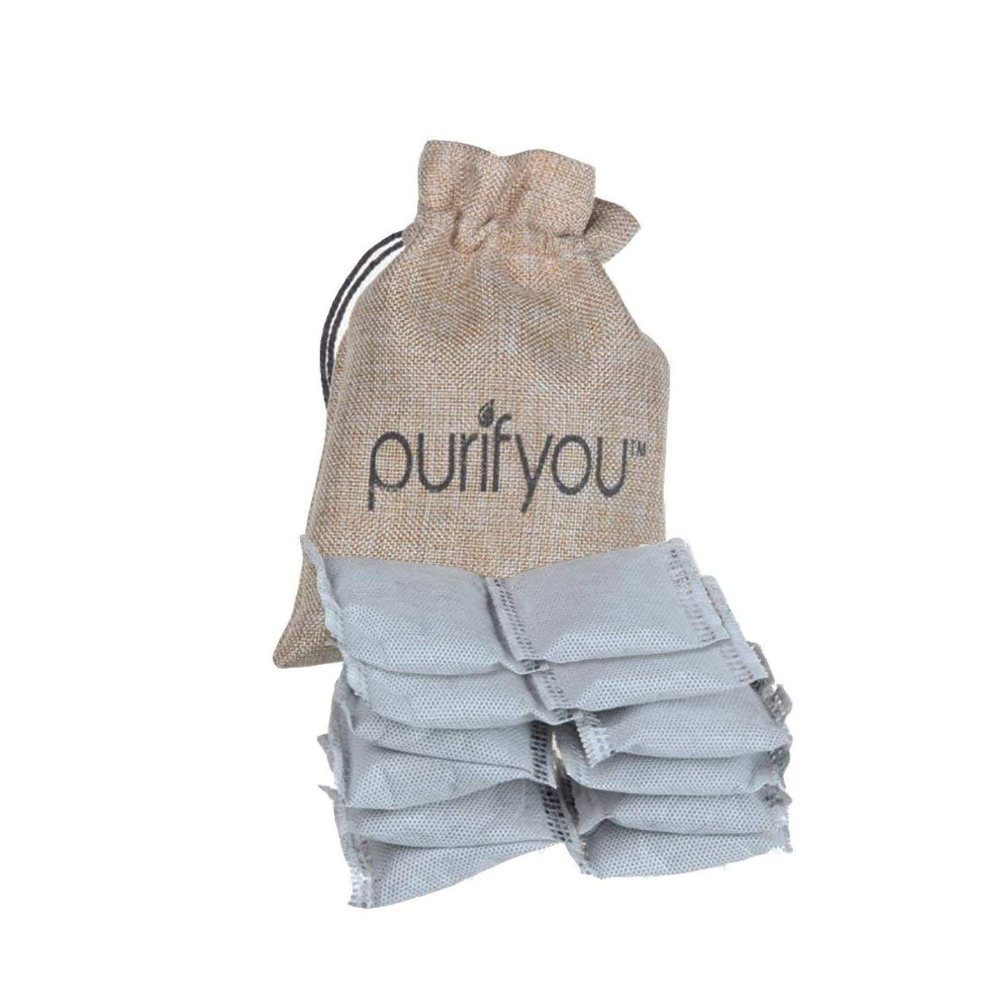 purifyou 100% All-Natural Activated Bamboo Charcoal Air Purifying Bag Diaper Pail Deodorizer Bags | Absorber For Diaper…