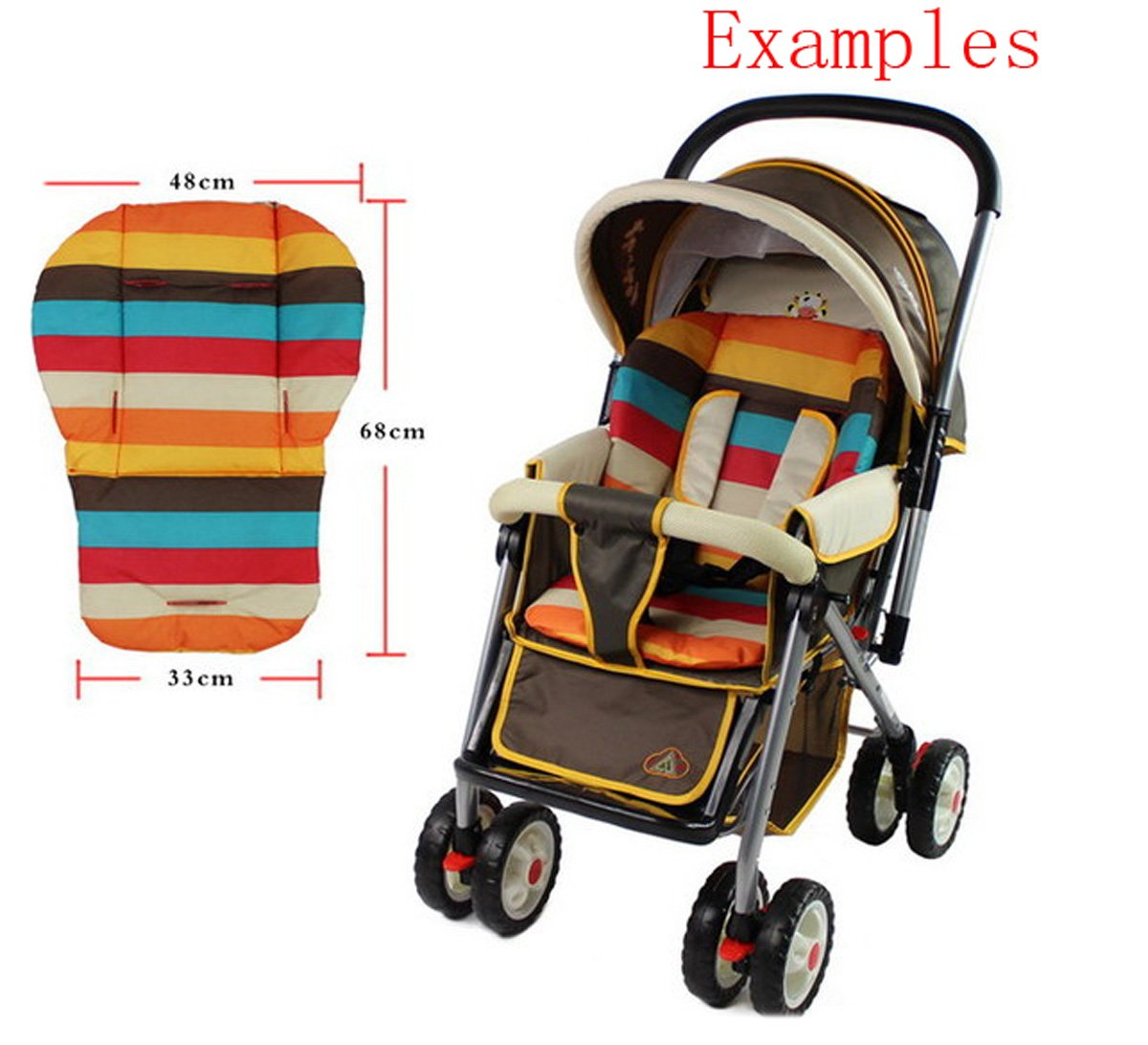Edtoy Baby Waterproof Stroller Cushion Stroller Pad Pram Padding Liner Car Seat Pad Thick Mat