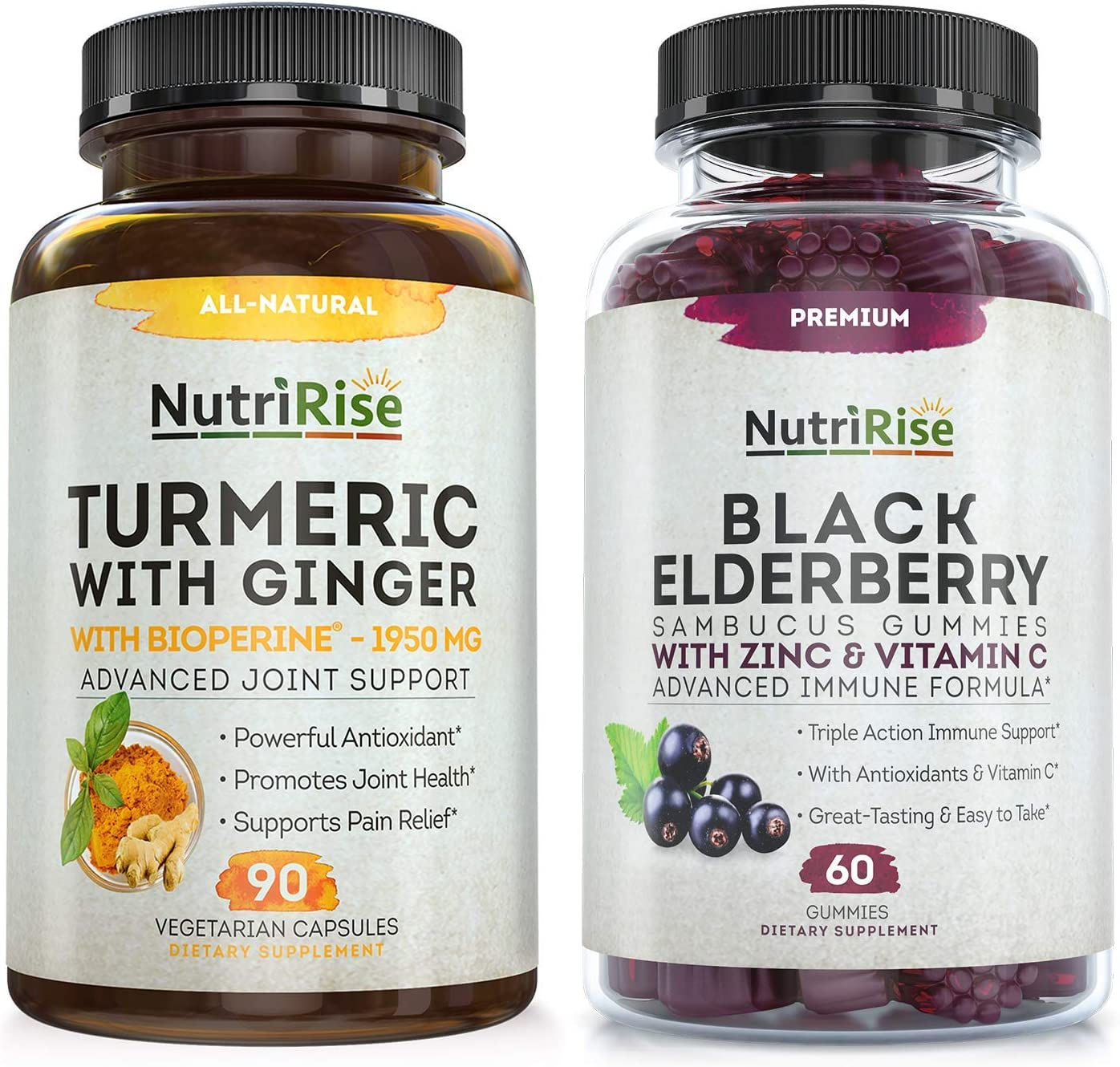 Sambucus Elderberry Gummies with Zinc & Vitamin C + Turmeric with Ginger Capsules: Vegan Combo for Immune Support. Powerful Antioxidants for Natural Cell Protection, Joint Pain Relief & Beautiful Skin