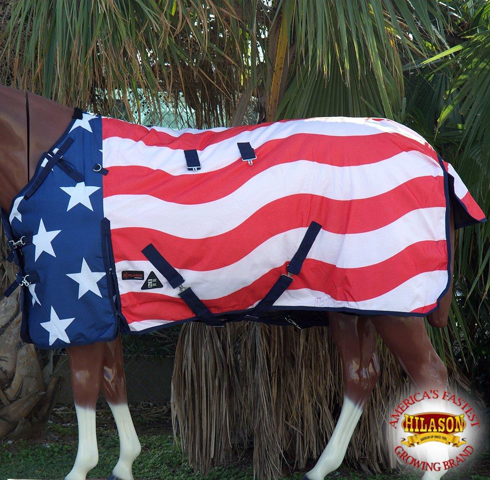HILASON 78' 1200D Waterproof Turnout Winter Horse Blanket Patriotic US Flag