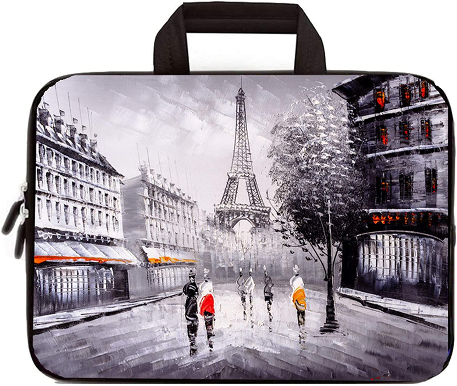 iColor 11.6 12 12.1 12.2 Inch Laptop Carrying Case - Protective Sleeve Bag with Handle - Lightweight Chromebook Ultrabook Travel Briefcase (Eiffel Tower)