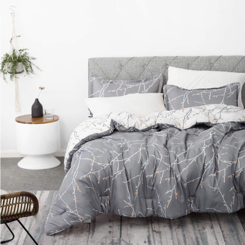 Bedsure Comforter Set King Size, Reversible Down Alternative Comforter Microfiber Duvet Sets (1 Comforter + 2 Pillow Shams), Tree Branch Floral, Grey&Ivory: Home & Kitchen