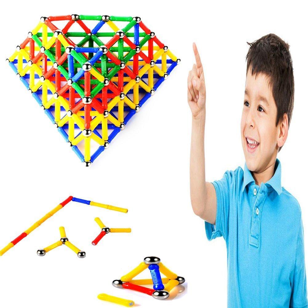 MUITOBOM 206 pcs Educational Magnetic Sticks Building Blocks Toys, Magnetic Tiles Construction Blocks 3D Educational Toy Set for Kids