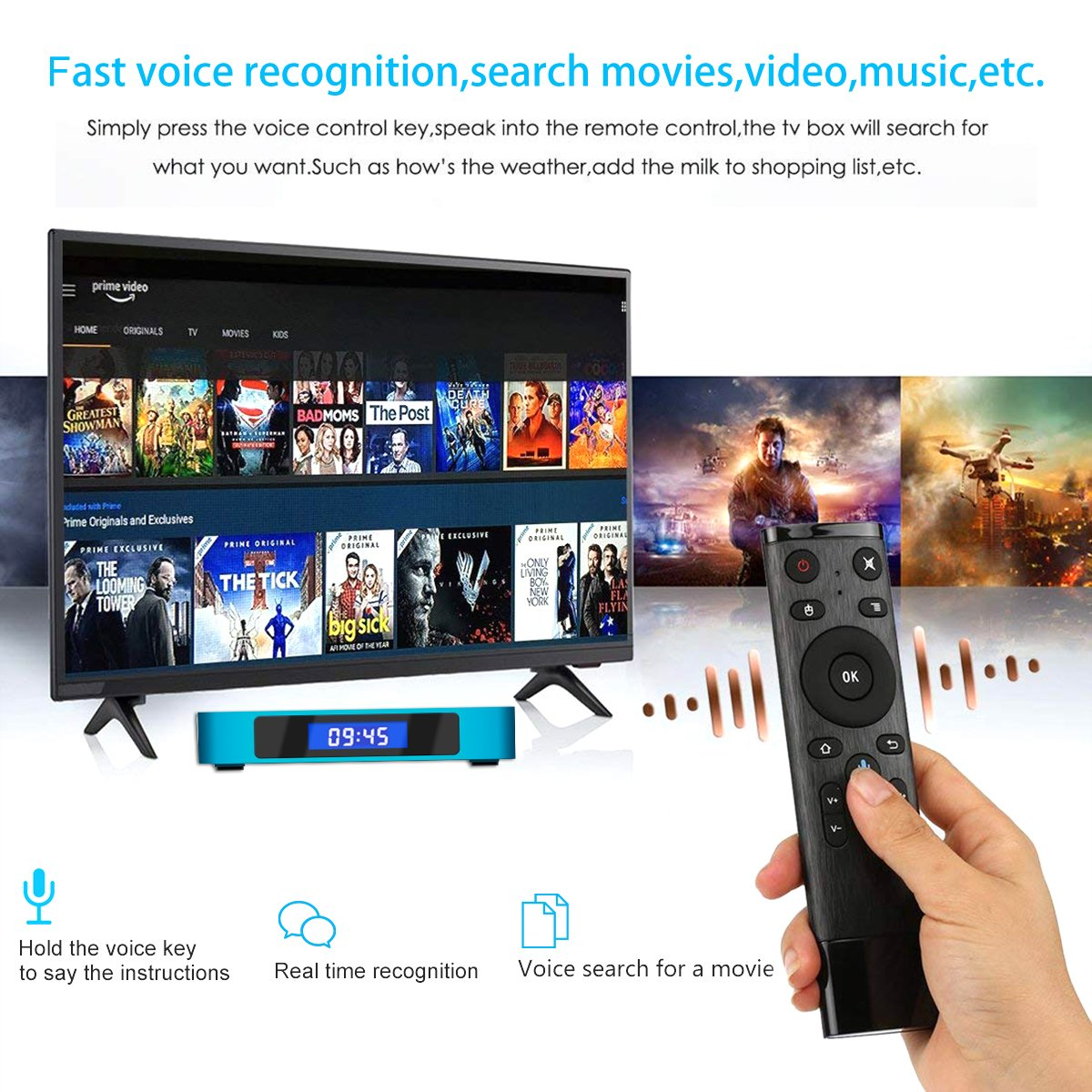 Android 8.1 TV Box with Voice Remote, RK3328 Quad Core 64bit 2GB DDR3 16GB eMMC Memory Smart TV Box with Bluetooth 4.0 WiFi Ethernet HDMI HD 4K Media Player Set Top Box by YAGALA (Image #2)