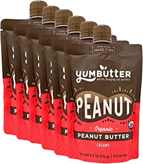 product image for Organic Peanut Butter by Yumbutter, USDA Organic, Gluten Free, Vegan, Non GMO, 6.2oz Pouch (Pack of 6)