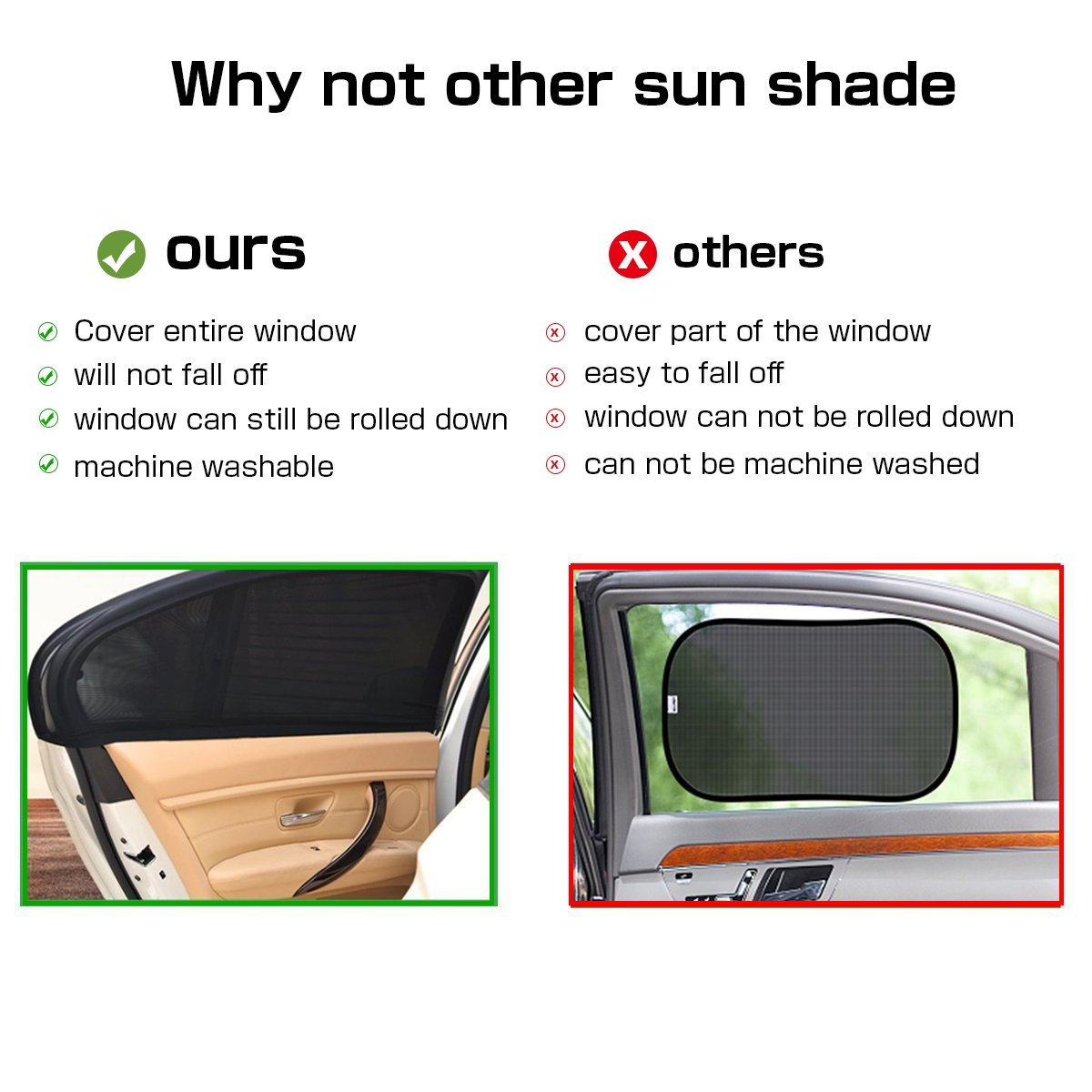 bedee Car Sun Shade, 2 Pack Car Window Shades |Block UV Rays| Cover Rear Side Window| Car Sun Shades for Baby Universal Fit Stretch Size: 39X21 inch