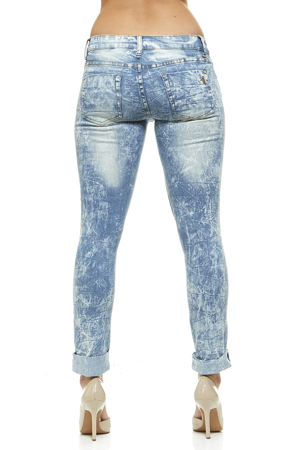 83f5fb79b20 Ripped Acid Bleached Jeans for Women Skinny Leg Junior or Plus Sizes at  Amazon Women's Jeans store