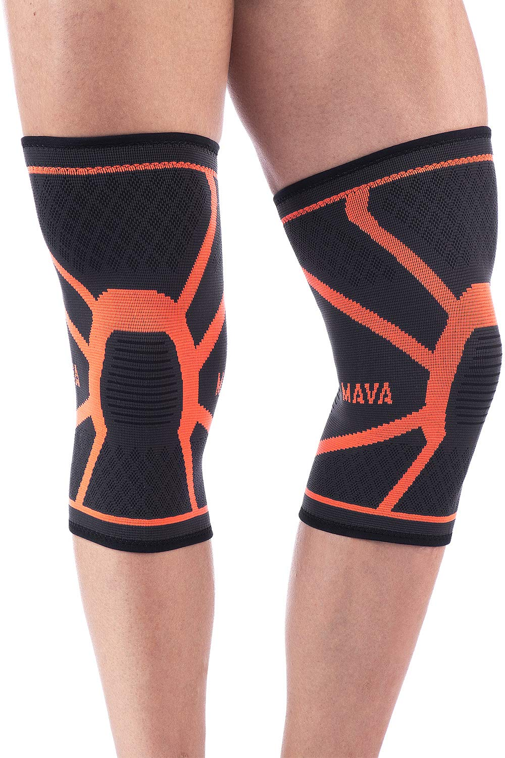 a5a06da95c Mava Sports Knee Compression Sleeve Support (Pair) for Joint Pain & Arthritis  Relief, Injury Recovery, Improved Circulation - Breathable (Black & Orange,  ...