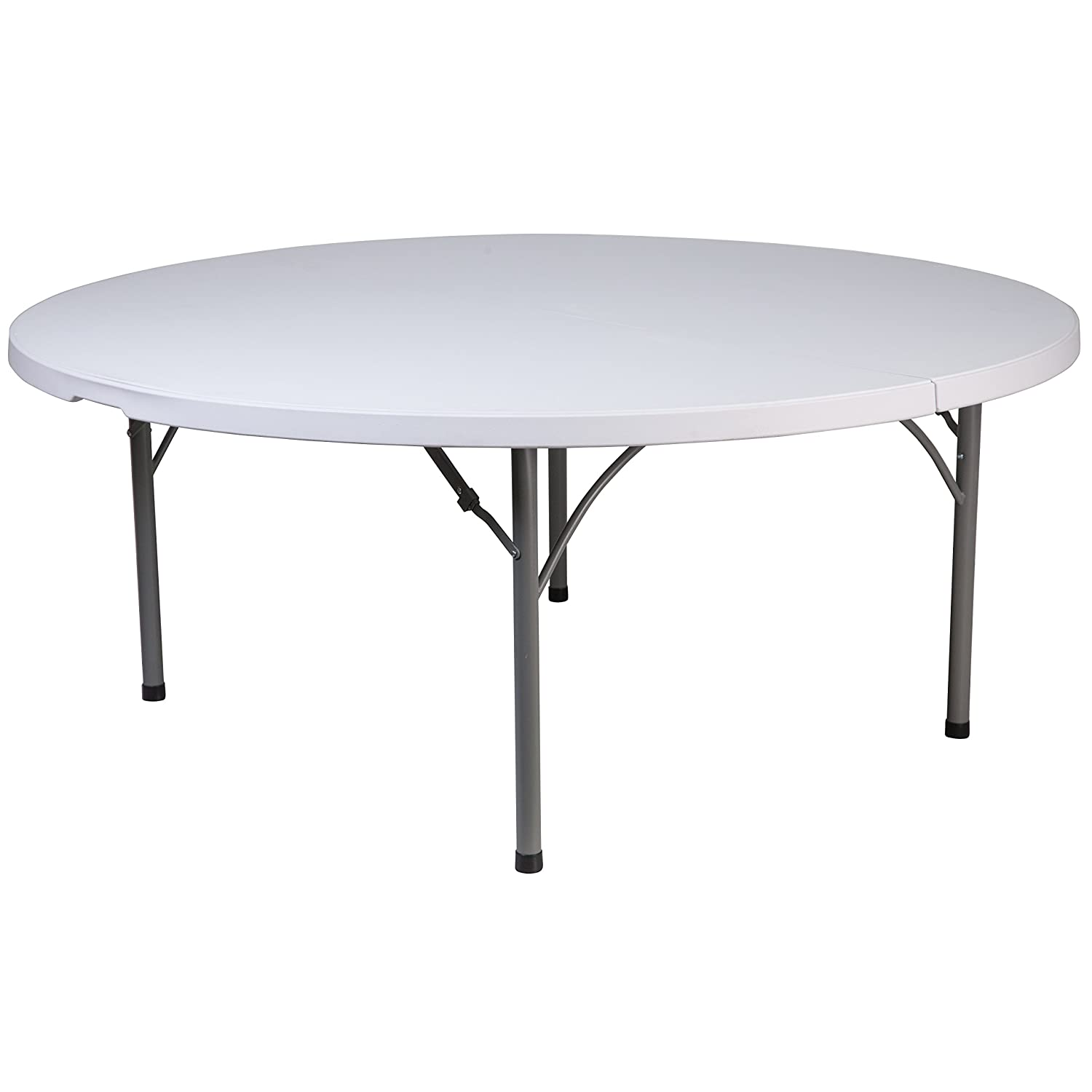 Flash Furniture 48'' Round Granite White Plastic Folding Table RB-48R-GG