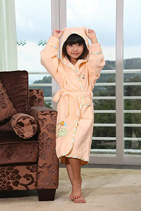 FERFERFERWON Camisa de Dormir Túnica Infantil de algodón con Capucha, Albornoz, Caricatura, niño