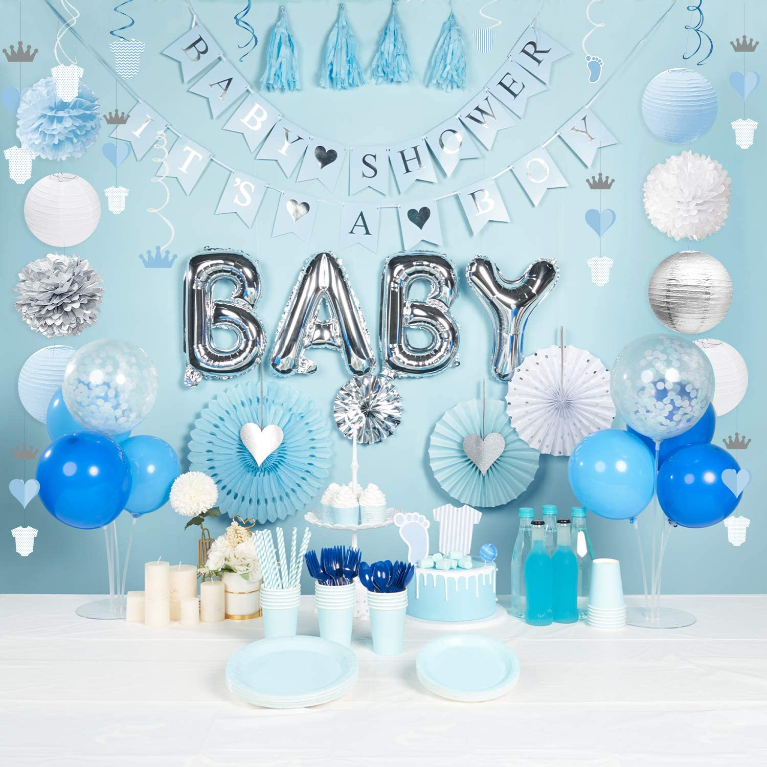 Baby Shower Decorations for Boy, Boy Baby Shower Decor Kit, 59PCS, Including Pre-Strung Banners, Balloons, Sash, Hanging Swirls, Paper Fans, Lanterns, Pom Poms, String Decorations, Tassels