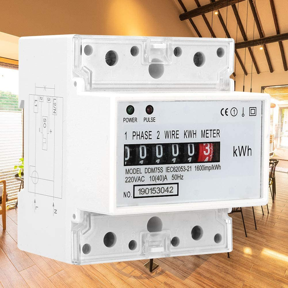 10-40A KWh Meter Electric Meter Single Phase 4P LED Din Rail ...