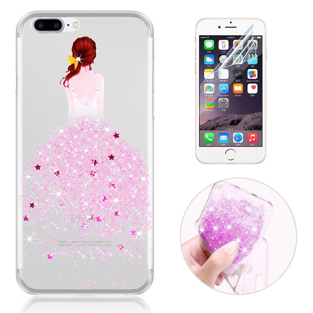 Sunroyal Custodia iphone 8 plus Silicone, Case Cover per iPhone 7 plus in TPU Silicone, Ultra sottile Trasparente Morbido Glitter Bling Case Cover iPhone 7 plus / iphone 8 plus 5.5 pollici, Rosa SC-IP7(5.5)-Transp08-PK