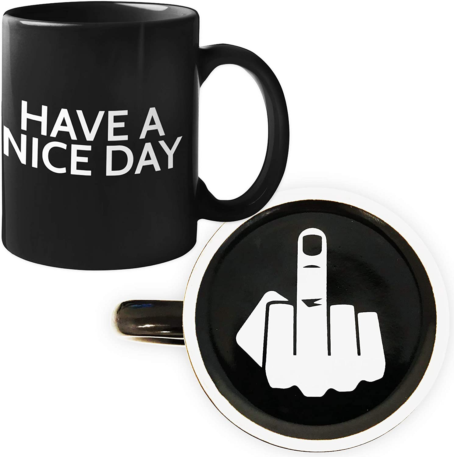Decodyne Funny Coffee Mug Funny Gifts Mugs with Middle Finger on the Bottom