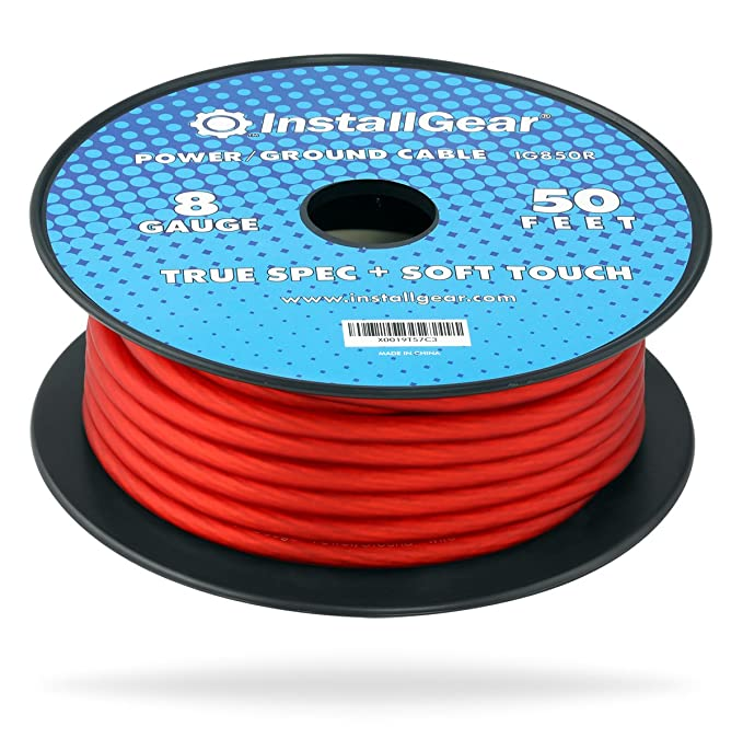 Amazon.com: InstallGear 4 Gauge Red 50ft Power/Ground Wire True Spec ...