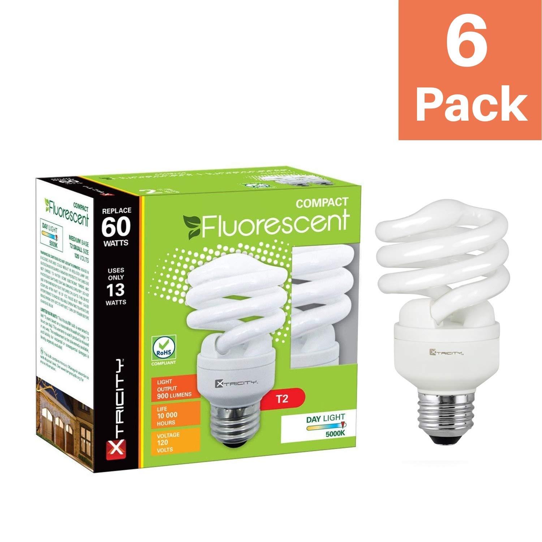 Pack of 4 Compact Fluorescent Light Bulb T2 Spiral CFL UL Listed 900 Lumens 60 Watt Equivalent 120V E26 Medium Base 4100k Cool White 13W