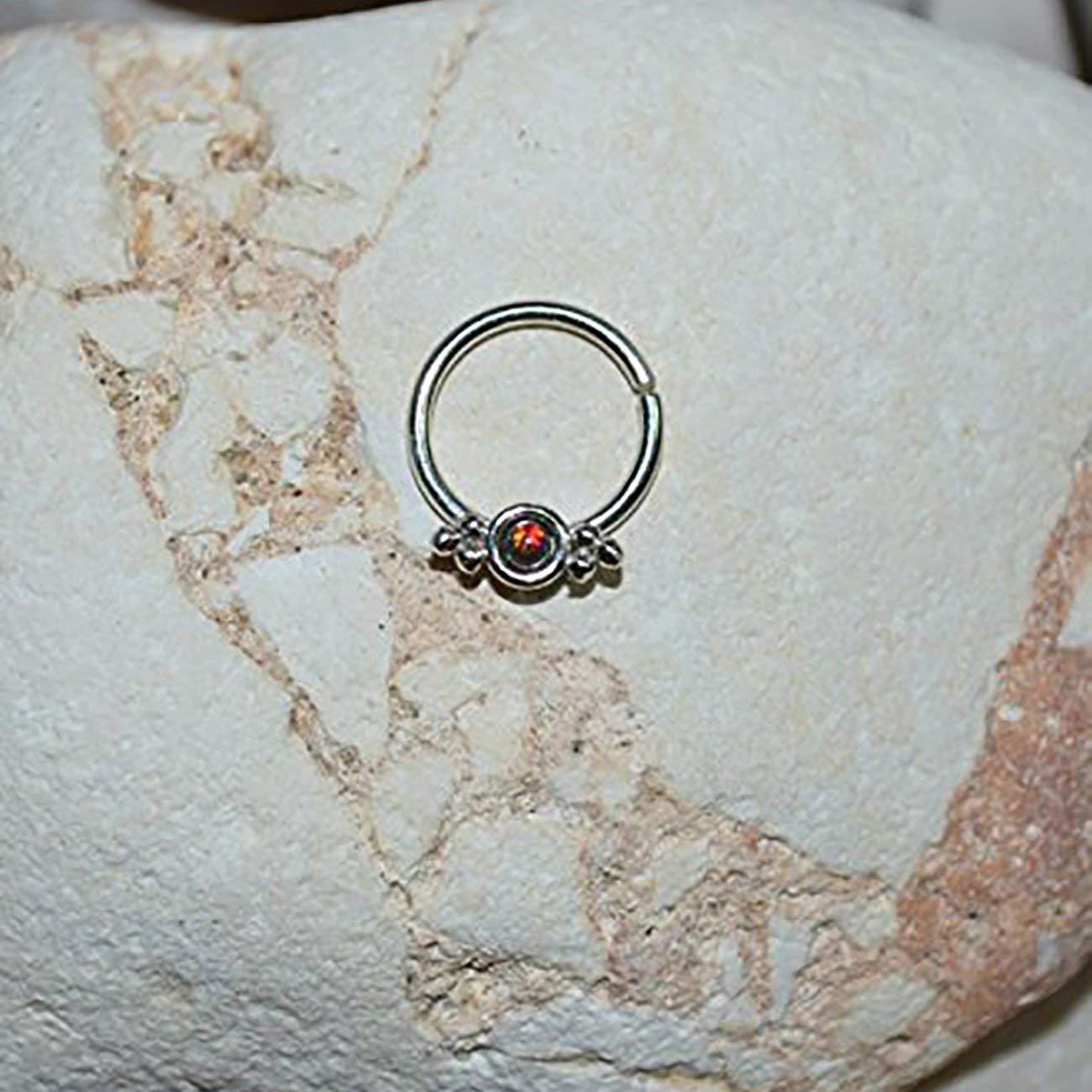 Amazon Com 2mm Black Red Opal Septum Ring Silver Septum