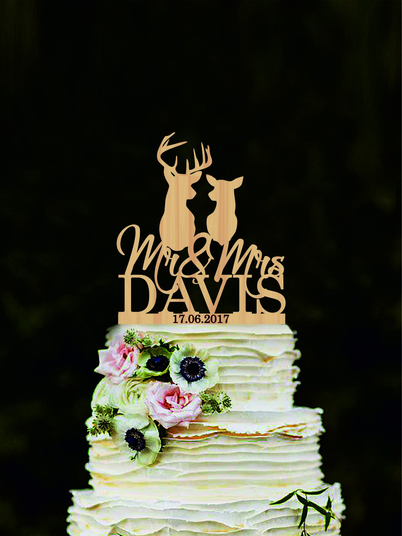 Custom Deer Cake Topper, Mr And Mrs Name Wedding Cake Topper, Hunting Cake Topper, Silhouette Doe And Buck Cake Topper, The Hunt Is Over