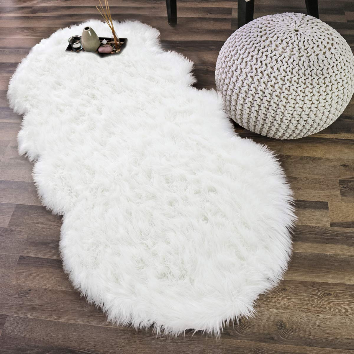 Noahas Faux Sheepskin Area Rugs Silky Long Wool Carpet for Living Room Bedroom, Children Play Dormitory Home Decor Rug, 2.6ft x 5.2ft, White by Noahas