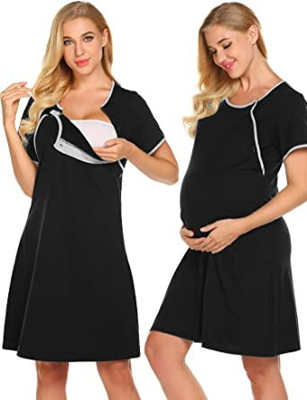a14a14dffa0 Ekouaer Nursing Nightgown Nightdress Hospital Gown Delivery/Labor/Maternity/ Pregnancy Soft Breastfeeding Dress at Amazon Women's Clothing store: