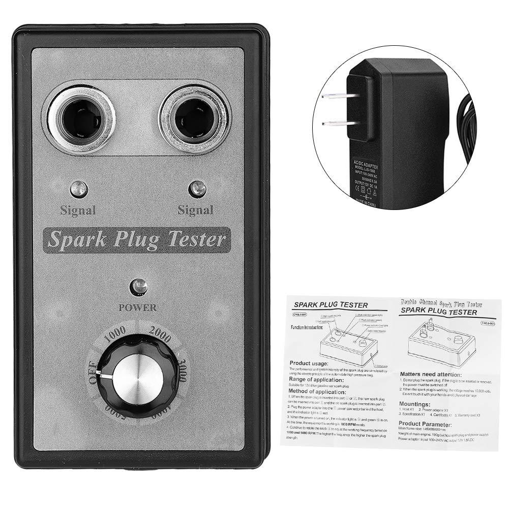 Senyar Dual Hole Car Spark Plug Tester,Ignition Plug Analyzer Adapter Diagnostic Tool 100-240V