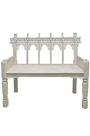 Orientalisches Zweisitzer Lounge Sofa Aus Holz Ilisabat Weiß 116cm Groß |  Orientalische Sitzecke Sitzbank 2 Sitzer
