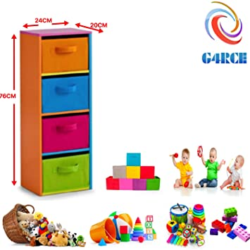 Charmant G4RCE Childrens/Kids Multi Use Toys Cabinet Storage Bookcase Organizer Rack  Unit Shelf Canvas Drawers