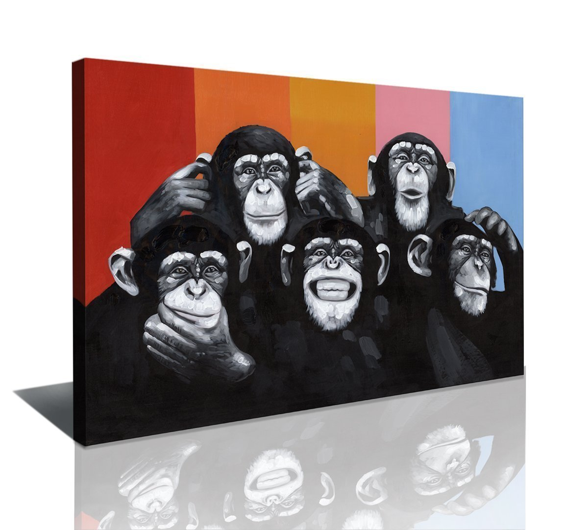 Formarkor Art Animals Canvas Print Wall Art,Modern Black And White Gorilla Monkey Oil Painting Wall Painting Canvas Painting Home Decor Animal Prints (24''x32'') by Formarkor Art