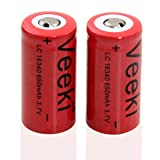 Rechargeable CR123A Battery, Veeki 16340 RCR123A