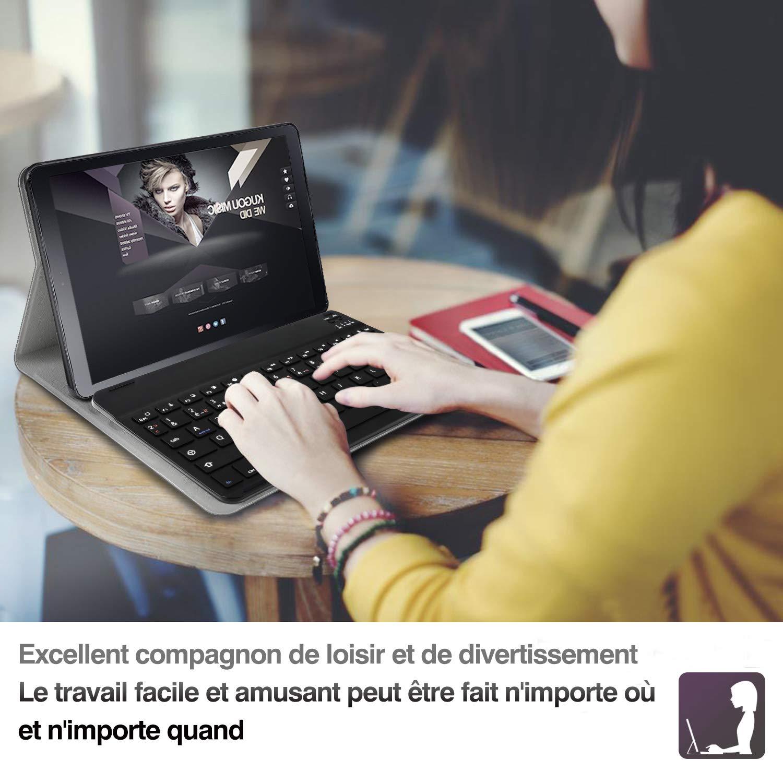 AZERTY ELTD Clavier /Étui pour Samsung Tab S5e 10.5 Pouces T720//T725, Wireless Clavier 7 Couleurs Trois partition r/étro/éclair/é Clavier Housse pour Tab S5e 10.5 Pouces T720//T725 BG-Noir